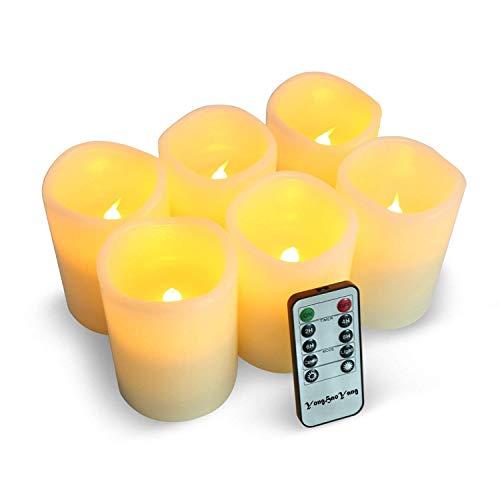 YHY Candele LED,set di 6 candele decorative(D3''*H4'')), 300 ore di candele senza fiamma con telecomando a 10 tasti. Fiamma LED lampeggiante,realizzato in vera paraffina
