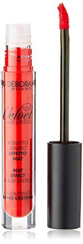 Deborah Fluid Velvet Lipstick N.06 Iconic Red Lunga Tenuta, con Mix di Oli per Labbra Idratate, Morbide e Vellutate