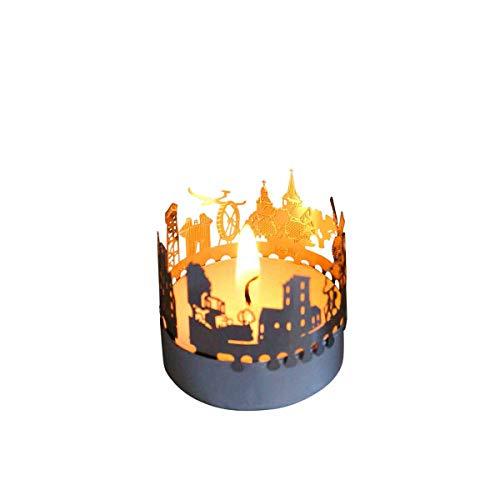 13 grammi Melle Skyline, candela votiva regalo souvenir, silhouette in acciaio inox 3D per un lumino da tè incluso biglietto di auguri
