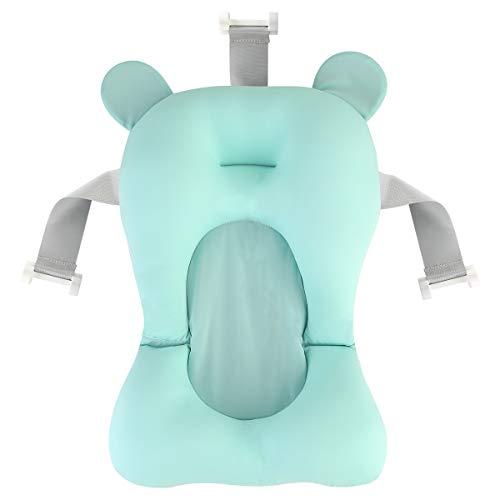 DaMohony - Cuscino da bagnetto per neonati, imbottito, antiscivolo, galleggiante, per vaschetta da bagno Verde Matcha.