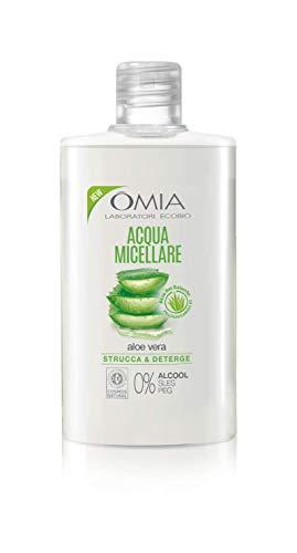 Omia - Acqua Micellare Viso Aloe Vera del Salento Eco Bio, Struccante Idratante ed Equilibrante Adatto a Tutti i Tipi di Pelle, Dermatologicamente Testato - Flacone da 400 ml
