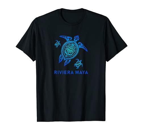 Riviera Maya Messico T-Shirt Sea Blue Tribal Turtle Maglietta