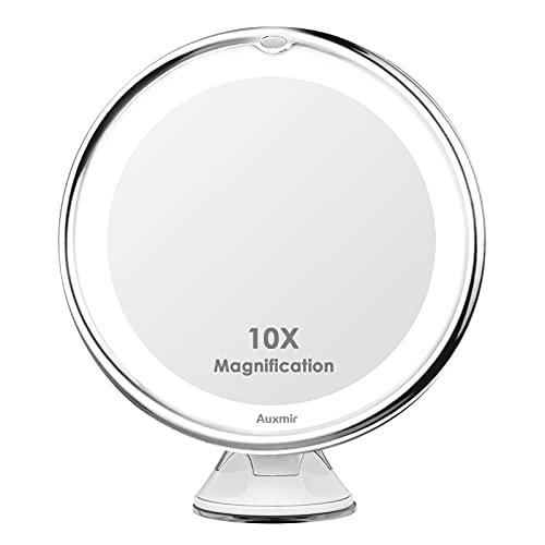 Auxmir Specchio Ingranditore 10X Specchio Trucco Illuminato LED Specchio a Ventosa 360° Girevole Portabile Luce Naturale Senza Fili Ideale per Casa e Viaggi
