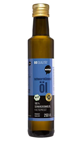 Wohltuer Bio, olio di cumino nero 250ml–Pressato a freddo in qualità cruda, biocertificata, alimento crudo egiziano
