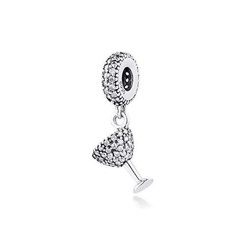 Misura I Braccialetti Originali Pandora In Argento Sterling 925 Charms Fai Da Te Clear Cz Beads Pavé Cocktail Glass Dangle Jewelry Making