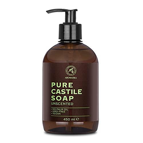 Sapone di Castiglia - 450ml - Castile Soap - Sapone Liquido Senza Profumo - Base di Sapone - Dispenser di Sapone per le Mani - Detergente Liquido - Sapone di Castile Naturale