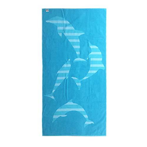 Telo mare in spugna jacquard 100% cotone 90x180 fantasia delfini