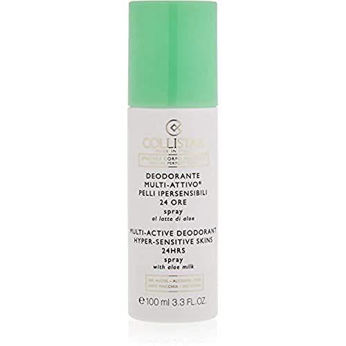 Collistar Deodorante Multi Attivo Pelli Ipersensibili 24 ore, Deo spray ecologico senza gas delicato sulla pelle, Senza alcol e profumo, 100ml
