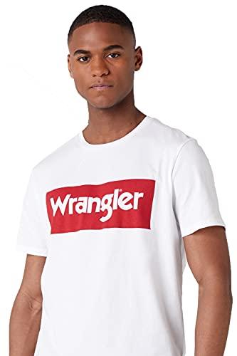 WRANGLER Logo Tee, Maglietta a Maniche Corte Uomo, Bianco (White 989), XL