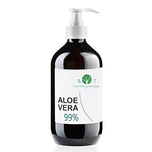 Gel di Aloe Vera Fresca 99% 250 ml. Doposole, Antibatterico, Antisettico, Idratante, Dopobarba. Aiuta in caso di Prurito del Cuoio Capelluto, Forfora, Acne, Cicatrici, Pelle Secca