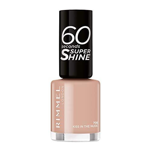 Rimmel - Smalto Per Unghie 60 Secondi Super Shine Colour Block, Ultra Brillante E Di Lunga Durata, Asciugatura Rapida - 30 Gr, 708 Kiss in the Nude