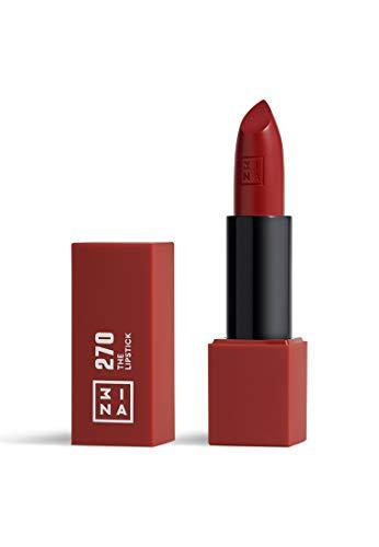 3INA MAKEUP - Vegano - Cruelty Free - The Lipstick 270 - Rosso Bordeaux - Rossetto Matte - 5h Lasting Lipstick - Alta Pigmentazione - Texture crème - Profumo di vaniglia e custodia magnetica