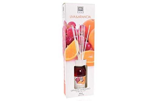 GIRM® - ME16484 Diffusore d'Essenza con Bastoncini in Cotone Aroma UVA e Arancia ml 125