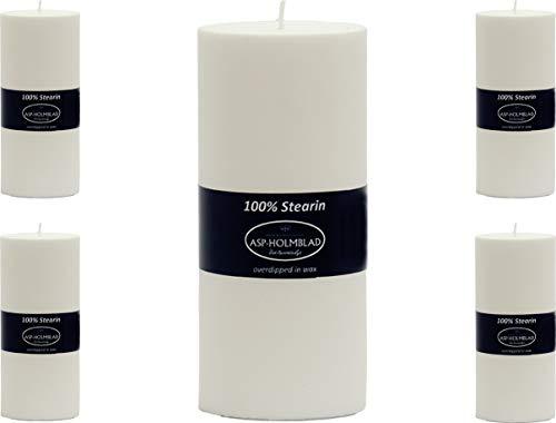 ASP-HOLMBLAD - Set di 5 candele a colonna, in stearina danese, 15 x 6,6 cm, colore: Bianco