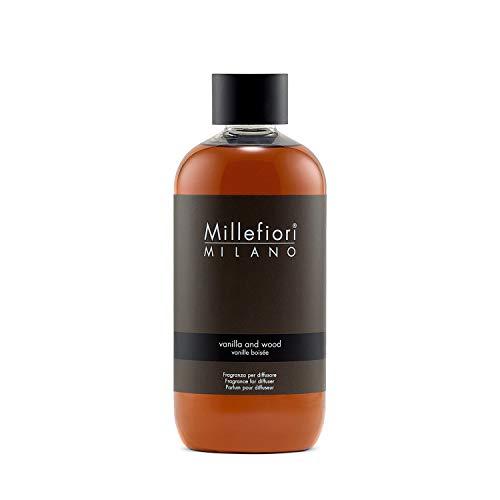 Millefiori Milano ricarica per diffusore di fragranza per ambienti | Vanilla & Wood | 250 ml di fragranza