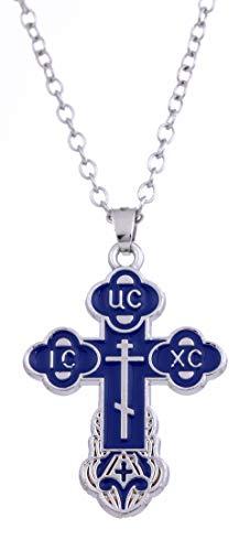 TEAMER Collana Croce Russa Crocifisso Ortodosso Chiesa Orientale Collana Uomini Gioielli Religiosi