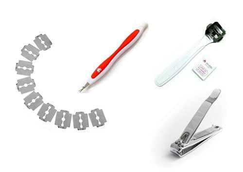 Levacuticole con taglia unghie e Rasoio tagliacalli - Set di 3 Pz per la Vs Pedicure - Rasoio per calli, tagliaunghie e leva cuticole.