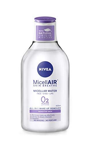 NIVEA MicellAIR Skin Breathe Acqua Micellare (100 ml), 3 in 1 Sensibile Make Up Remover, Acqua Pulizia Micellare Acqua Delicata Idratante Donna