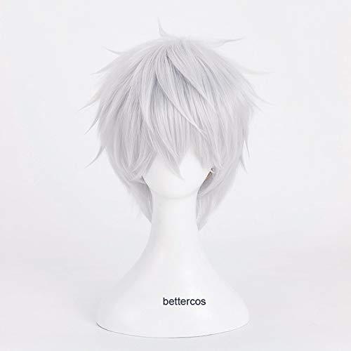 Tokyo Ghoul Kaneki Ken Parrucche Cosplay Breve Argento Bianco Resistente al Calore Parrucca Sintetica Dei Capelli + Cappuccio Della Parrucca