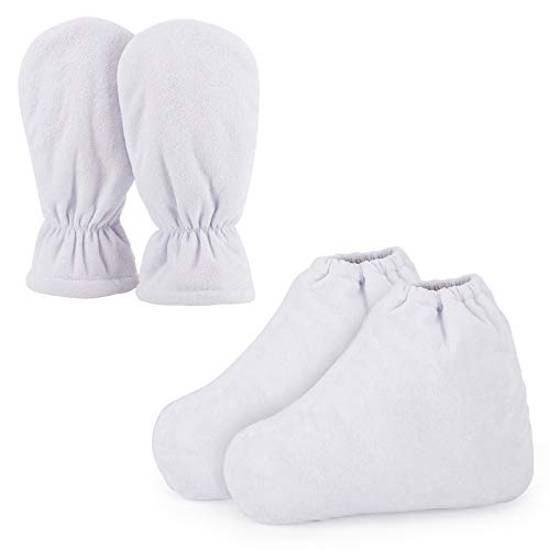 Guanti e stivaletti in cera di paraffina, guanti per la cura del bagno in cera Segbeauty cozies guanti protettivi in spugna di cotone per terapia termica abbronzatura