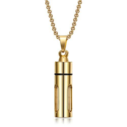 FGFDHJ La Collana può Aprire la Bottiglia di Profumo Pendente Aroma Olio Essenziale Collana Gioielli in Acciaio Inossidabile da Uomo Creativo