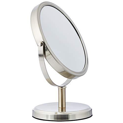 Amazon Basics - Specchio cosmetico bifacciale moderno, Nichel