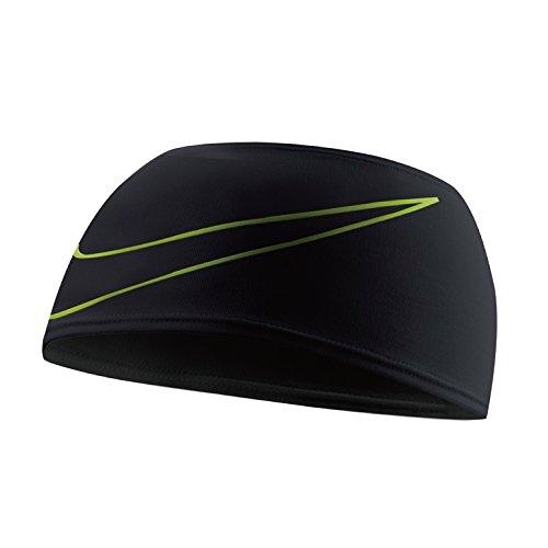 Nike Dri-Fit Swoosh - Fascia da corsa, colore: Nero/Volt
