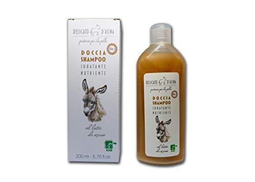 DELICATO D'ASINA - Doccia Shampoo Bio al Latte D'Asina - Perfetto per Pelli Sensibili - Certificato AIAB - 200 ml