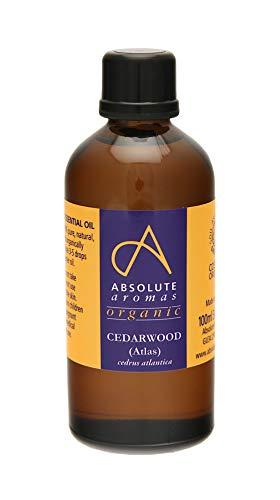 Absolute Aromas Olio Essenziale Legno di Cedro Atlas Bio 100 ml - Puro, Naturale, Non Diluito, Cruelty Free e Vegan - Per Aromaterapia, Diffusori e Ricette di Bellezza Fai da Te