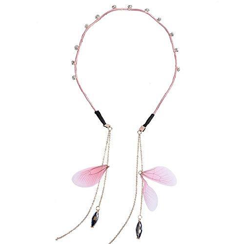 Accessori per capelli Studente semplice e carino fascia per bambini femminile perla dolce nappa fascia fascia orecchini falsi accessori per capelli gioielli-farfalla rosa