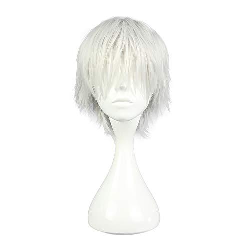 COSPLAZA Parrucca capelli corti sintetici per cosplay di Ken Kaneki personaggio dell'anime giapponese Tokyo Ghoul bianco argento