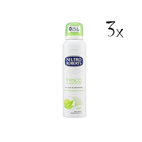 Deodorante spray NEUTRO ROBERTS Fresco al tè verde e lime,  125 ml, 3 pezzi