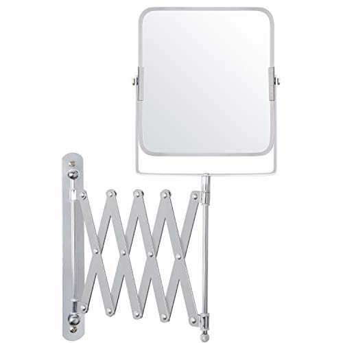 Belle Vous Specchio Quadrato da Parete Estensibile e Orientabile 360°- Specchio Trucco Ingranditore 3x - 15,5x18,5cm - Specchio Parete Acciaio Inox Doppia Faccia - Specchio Ingranditore Trucco, Barba