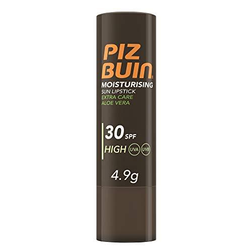 Piz Buin, Stick Solare per Labbra, Moisturising, Protezione Alta 30SPF, Aloe Vera, Filtro Solare UVA/UVB, 4,9g