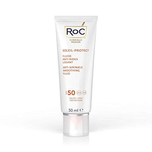 RoC - Soleil-Protect Fluido Levigante Antirughe SPF 50 - Crema Viso - Riduce le Rughe - Crema Solare - 50 ml