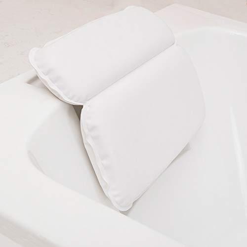 MOLEDA Cuscino Vasca con 7 Antiscivolo Ventose, Bath Pillow Spa Bathtub Pillow, Cuscino Poggiatesta Vasca da Bagno Impermeabile, Rettangolare Morbido PU Cuscino per Collo Testa Vasca Bagno (Bianco)