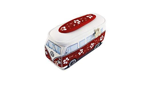 BRISA VW Collection - Volkswagen Hippie Bus T1 Camper Van Borsa Universale 3D da toilette-bagno di Neoprene, Beauty-case da Viaggio, Trousse per trucchi-make-up, Astuccio Porta-matite (Ibisco/rosso)