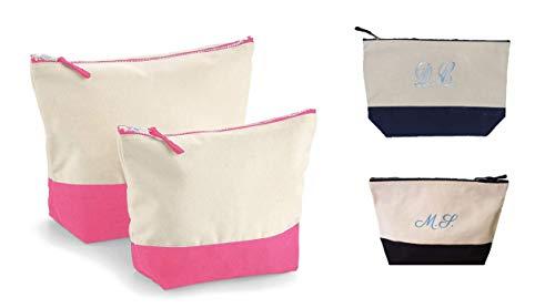 Pochette Beauty Case Borsetta Multiuso Donna Personalizzabile con Ricamo del Nome o Iniziali Personalizzato (Medium, Rosa)