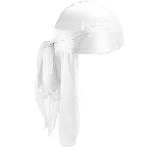 Unisex Deluxe Silky Durag Extra Long-Tail Headwraps Pirate cap Solido Capo Colori Wrap Turbante cap per Le Donne Gli Uomini