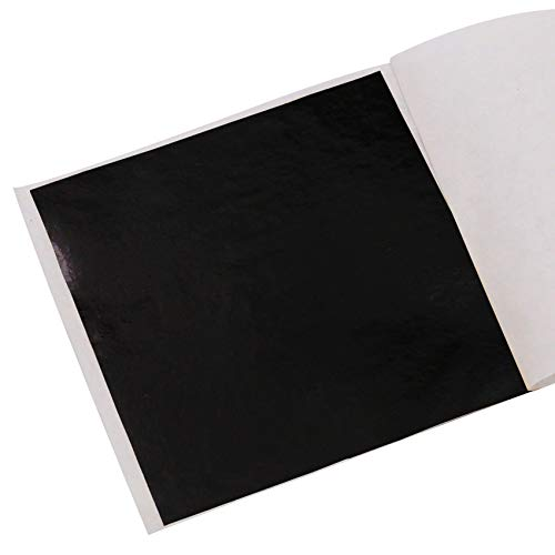 KINNO Foglia Oro 100 Fogli Foglia Oro Metallizzata Colorata per Arti e Mestieri, Decorazioni per Unghie, Dipinti 8x8,5 cm (Nero)