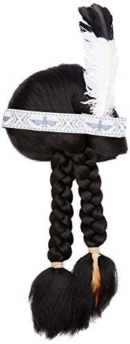 SMIFFYS Parrucca ispirata ai nativi americani, nera, con treccie, con bandana di piume
