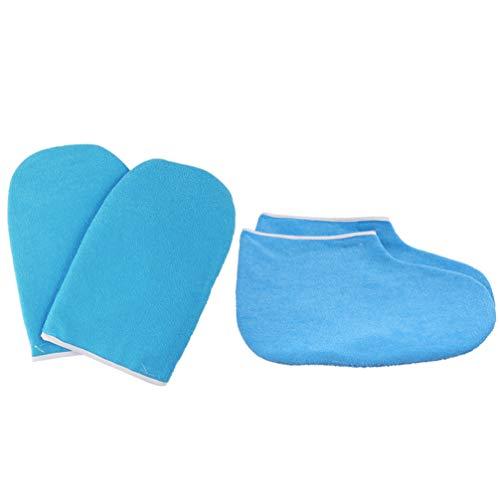 Minkissy - Guanti da bagno in cera di paraffina per la terapia del calore, per il trattamento delle mani, guanti per il pediluvio da donna, colore blu scuro