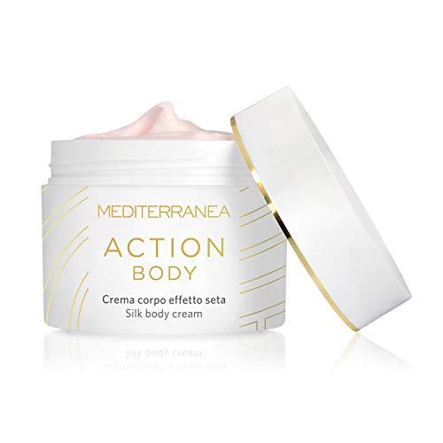 Mediterranea - Action Body - Crema Corpo Effetto Seta con Texture Sensoriale - Idratante e Nutriente per Donna - Pelle Liscia, Elastica e Vellutata - Delicatamente Profumata alla Rosa - 200 ml
