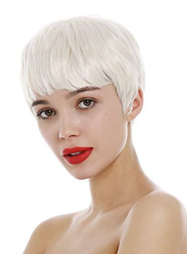 WIG ME UP-SA098-613 Parrucca Donna Molto corta Pixie cut Anni 60 Acconciatura corta Frangetta Biondo platino Biondo chiarissimo