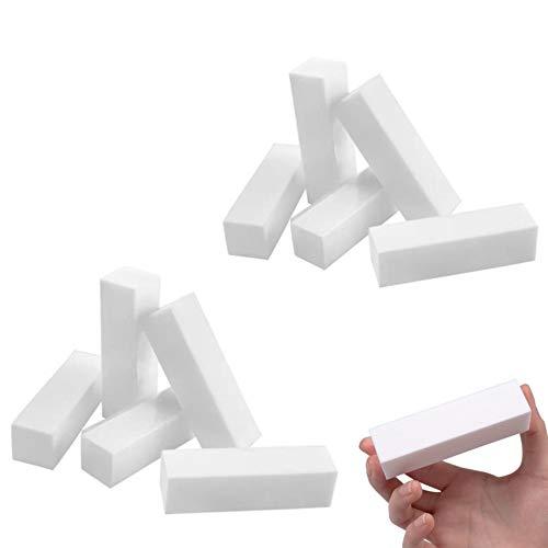 10pcs Bianco Buffer Blocco Acrilico Nail Art Cura Suggerimenti Levigatura File Strumento con pennello per unghie, grana 120, professionale, per saloni di bellezza, adatti per unghie in gel