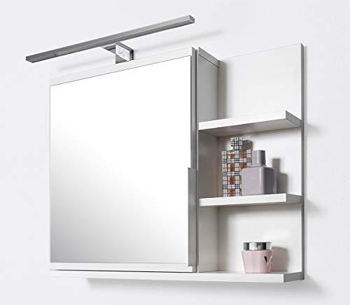 DOMTECH Armadietto da bagno con specchio, con mensole e illuminazione a LED, specchio da bagno, bianco