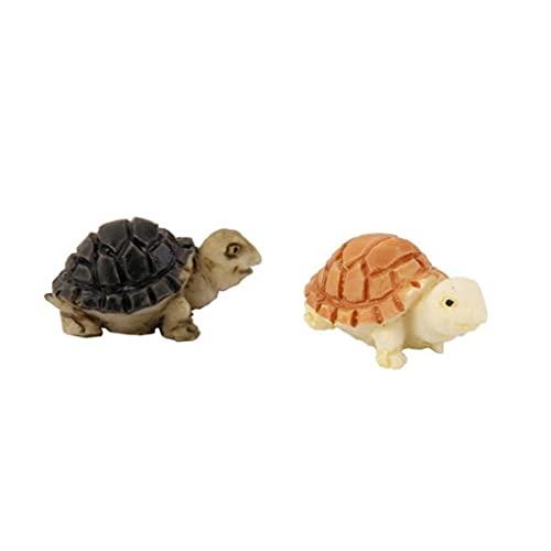 Hainice Camera Mini Dollhouse Turtle Bonsai Tortoise Tatuaggi Miniatura Figurina Micro Paesaggio Fairy Garden Animale Giocattolo Casa Ornamento Fai da Te Kit Bambini Decor 2 Pezzi Giallo e Nero