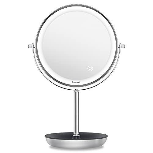 Auxmir Specchio Trucco con Luci Specchio Ingranditore 10X/1X 3 Colori di Luci Luminosità Regolabile Specchio Bifacciale Rotazione a 360° con Contenitore Ideale per Trucco Rasatura e Cura del Viso
