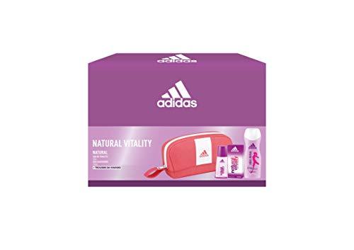 Adidas, Confezione Regalo Donna Natural Vitality, Eau de Toilette 30 ml, Gel Doccia Bagnoschiuma 250 ml, Trousse da Viaggio