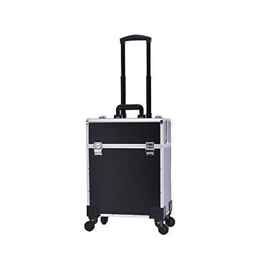 Trolley Trolley Case, Professional Beautician Artist Travel Jewlry Cosmetic Organizer, Nero, Rosa, Oro (colore : Black#1)